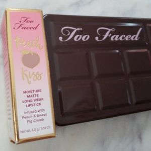 Too faced Chocolate Bar palette and lipstick
